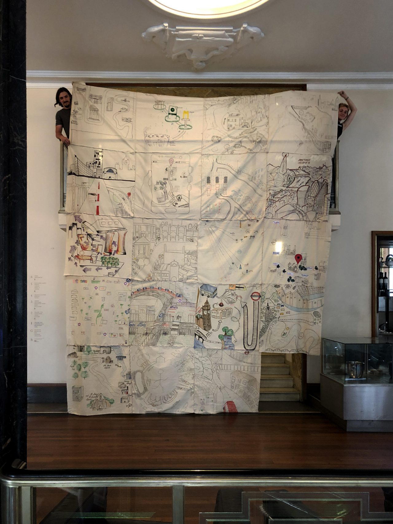 Day 2: Giant tapestry of collective urban memories made from students' personal journeys of the city