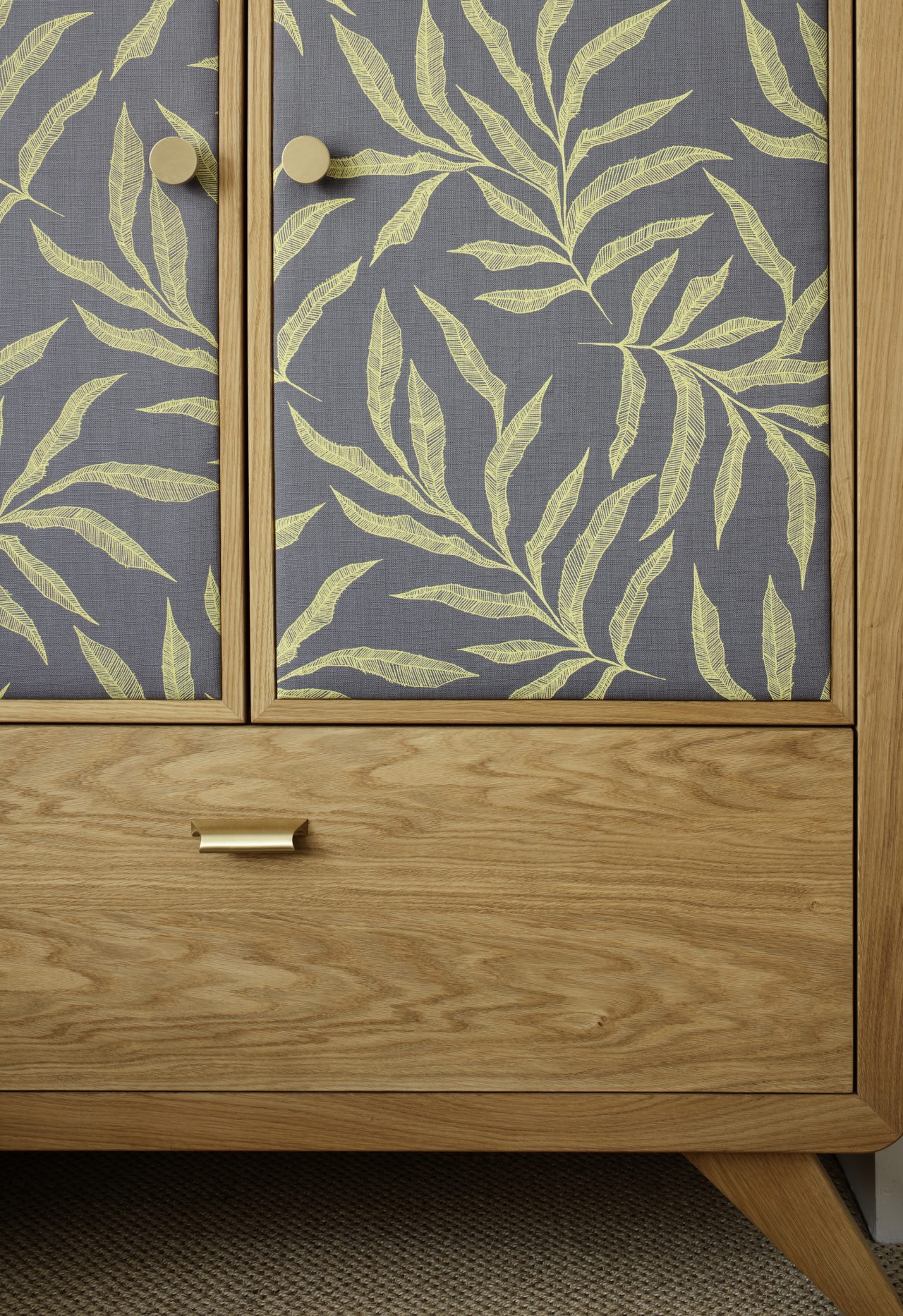 Oak, satin brass and fabric